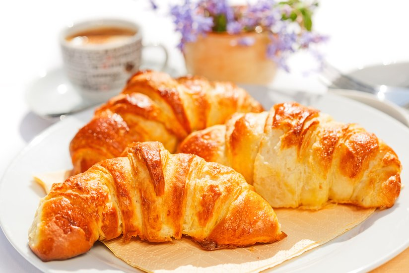 Croissant is type of cake made from flour, yeast, nutterm milk and salt.